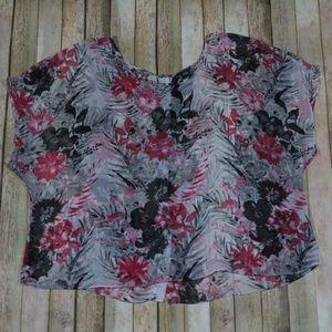 Torrid Dolman Sleeve Blouse Floral Sheer Work